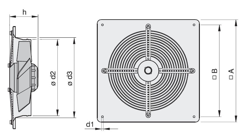 Габаритные размеры вентилятора Rosenberg DQ 350-4