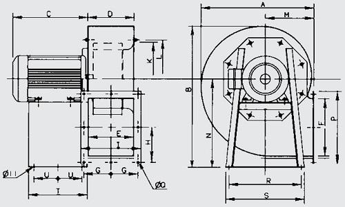 Габаритные размеры вентилятора Soler&Palau CMT/4-500/205-15