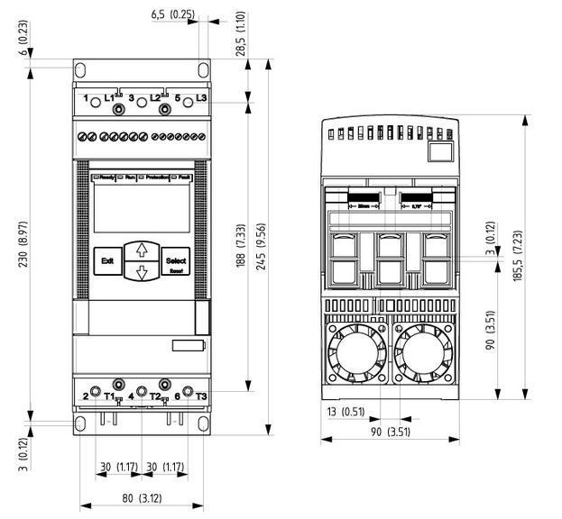 Габариты упп ABB PSE45-600-70 22 кВт