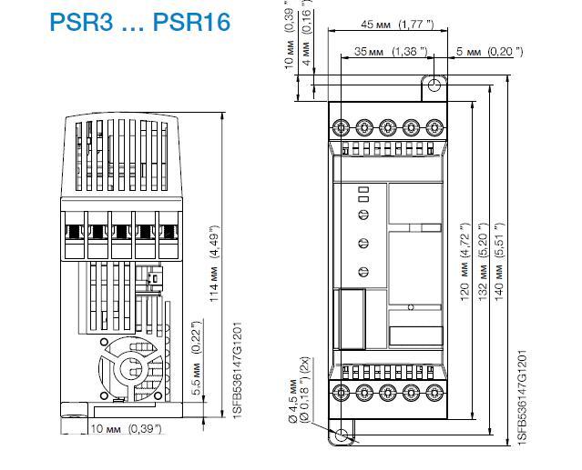 Габариты упп ABB PSR3-600-70 1,5 кВт
