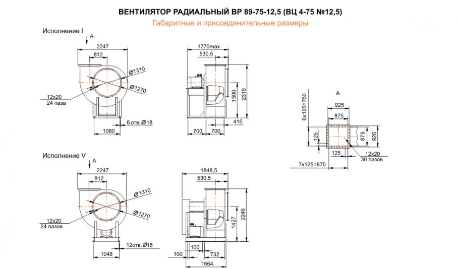 Габаритные размеры вентиляторов ВЦ 4-75, ВР 89-75-4