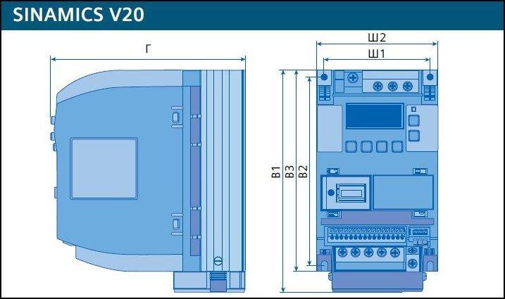 Схема частотных преобразователей Siemens SINAMICS V20