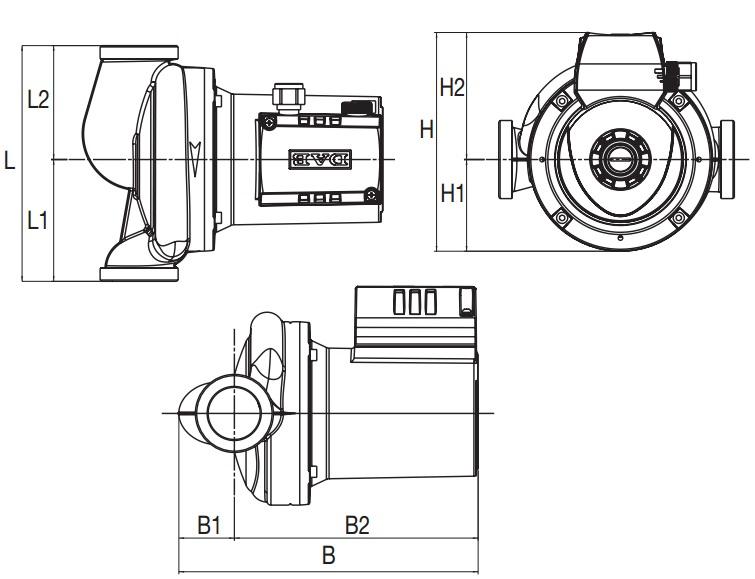 Габаритные размеры циркуляционного насоса DAB A110/180 XM