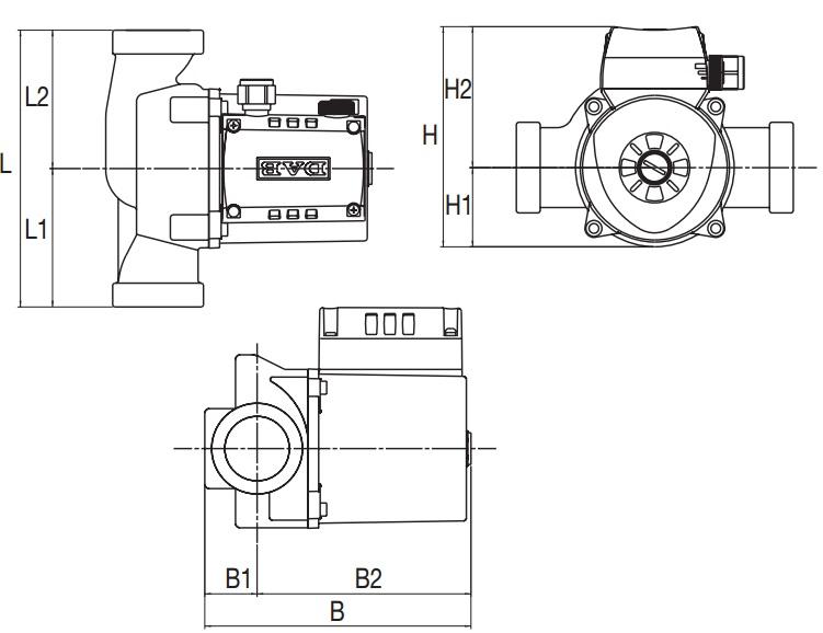 Габаритные размеры циркуляционного насоса DAB A56/180 T