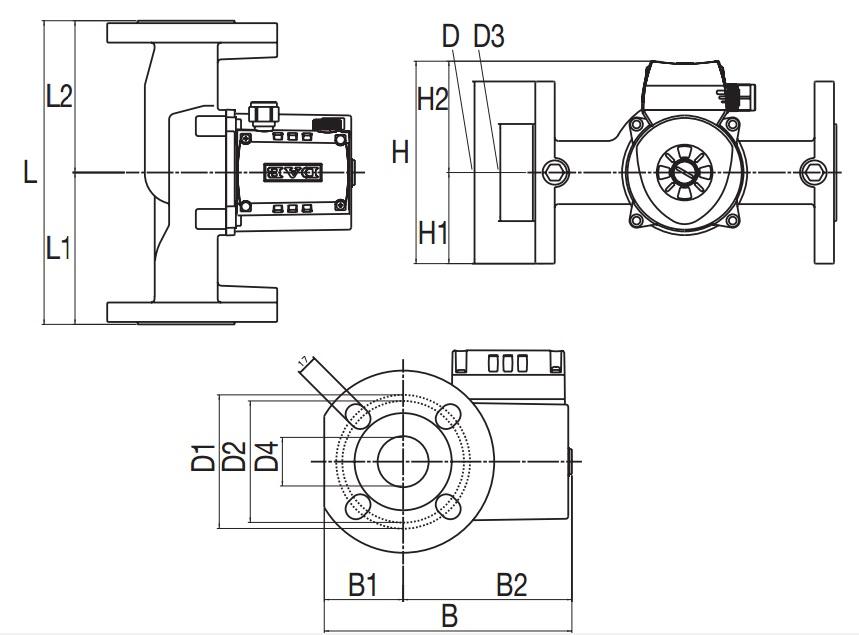 Габаритные размеры циркуляционного насоса DAB B50/250.40 M