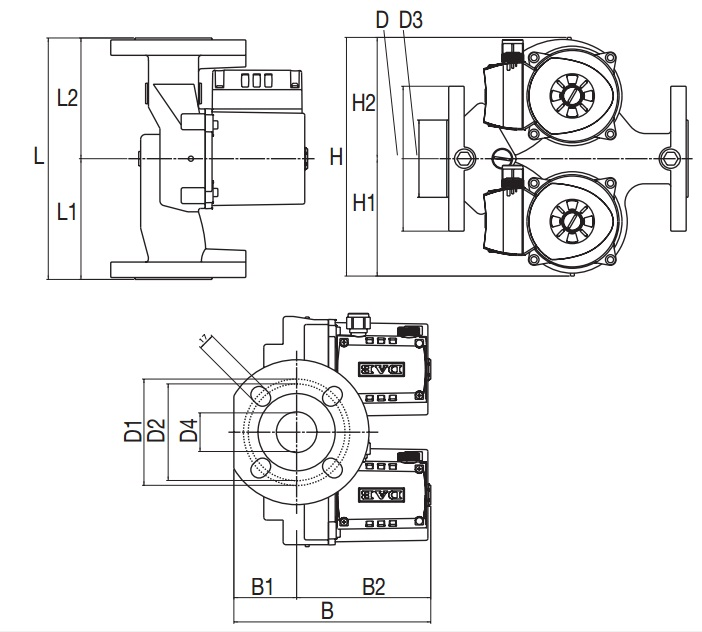 Габаритные размеры циркуляционного насоса DAB D56/250.40 T