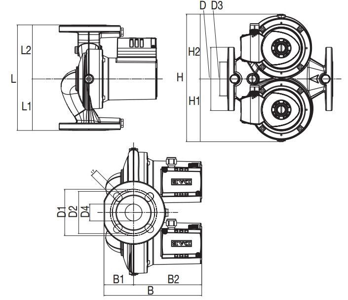 Габаритные размеры циркуляционного насоса DAB D110/250.40 T
