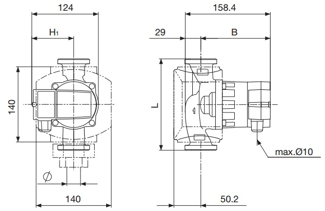 Габаритные размеры циркуляционного насоса DAB AC 55/180