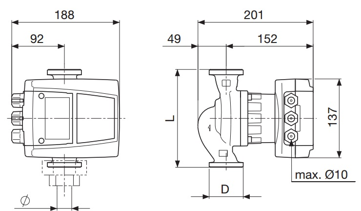 Габаритные размеры циркуляционного насоса DAB AC 65/180 X