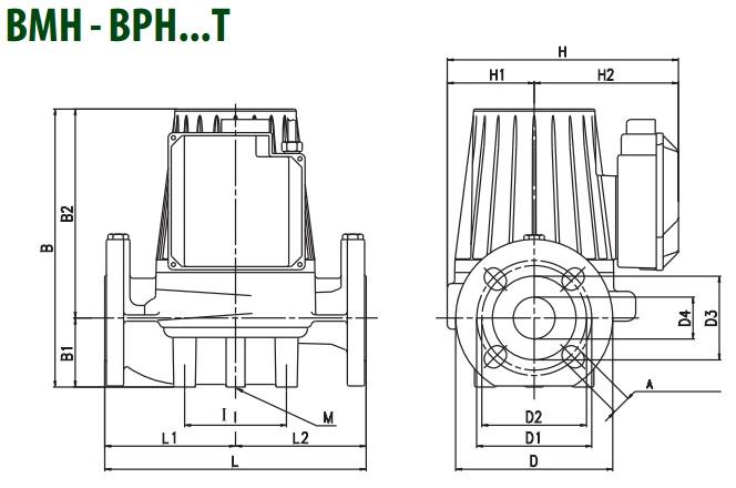 Габаритные размеры циркуляционного насоса DAB BMH 60/360.80 T