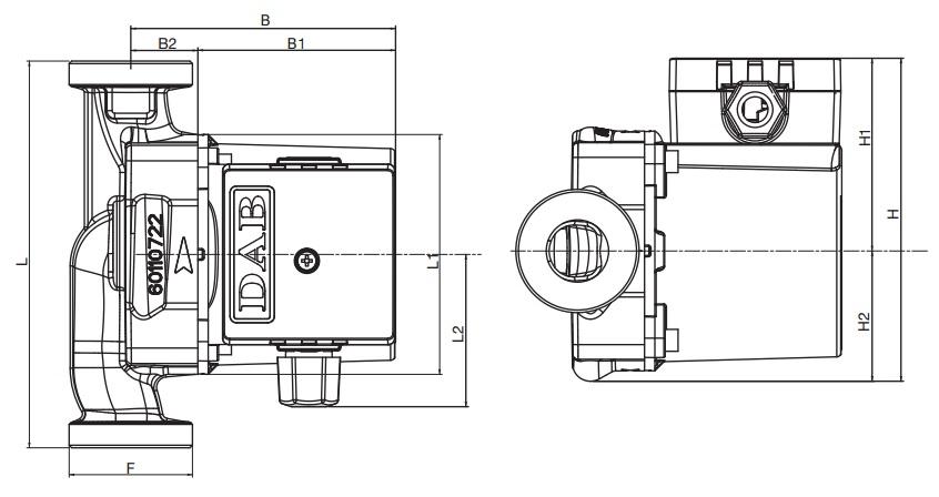 Габаритные размеры циркуляционного насоса DAB VS 35/150