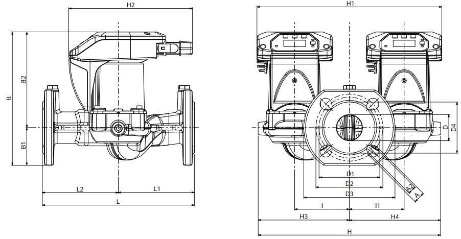 Габаритные размеры циркуляционного насоса DAB EVOPLUS D 60/250.40 M
