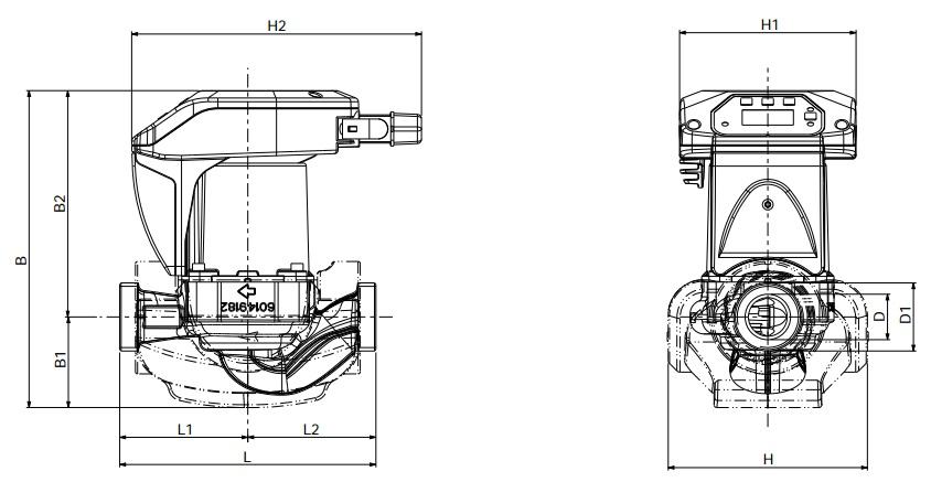 Габаритные размеры циркуляционного насоса DAB EVOPLUS 40/180 XM
