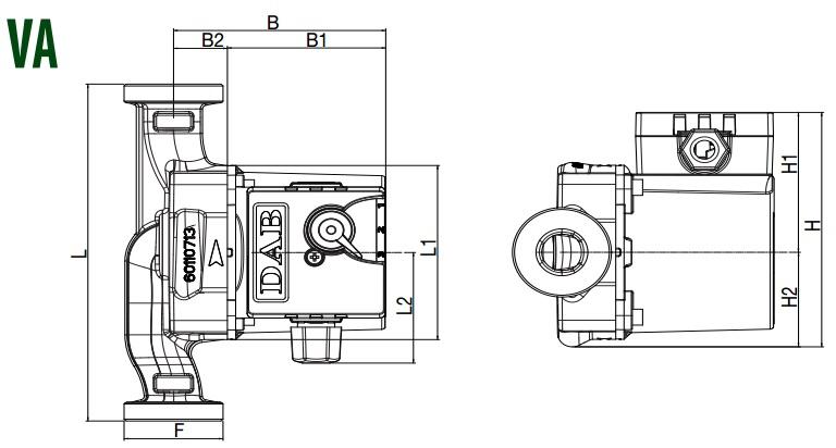 Габаритные размеры циркуляционного насоса DAB VA55/130
