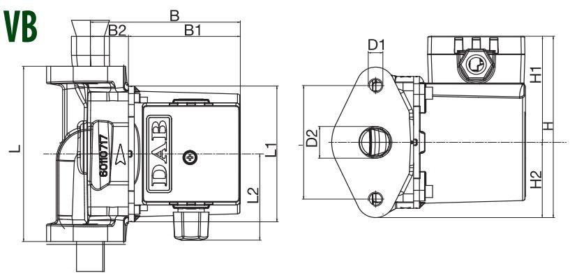 Габаритные размеры циркуляционного насоса DAB VB65/120