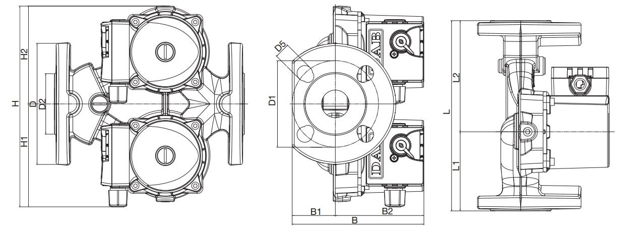 Габаритные размеры циркуляционного насоса DAB VD 55/220.32
