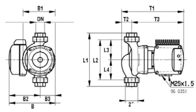 Габаритные размеры циркуляционного насоса DAB VEA 40/190 XM