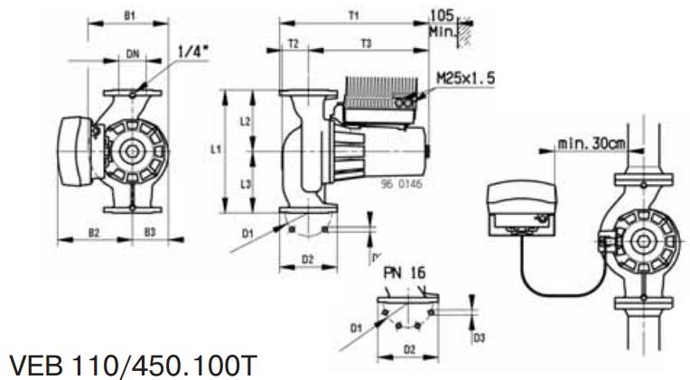 Габаритные размеры циркуляционного насоса DAB VEB 110/450.100 T