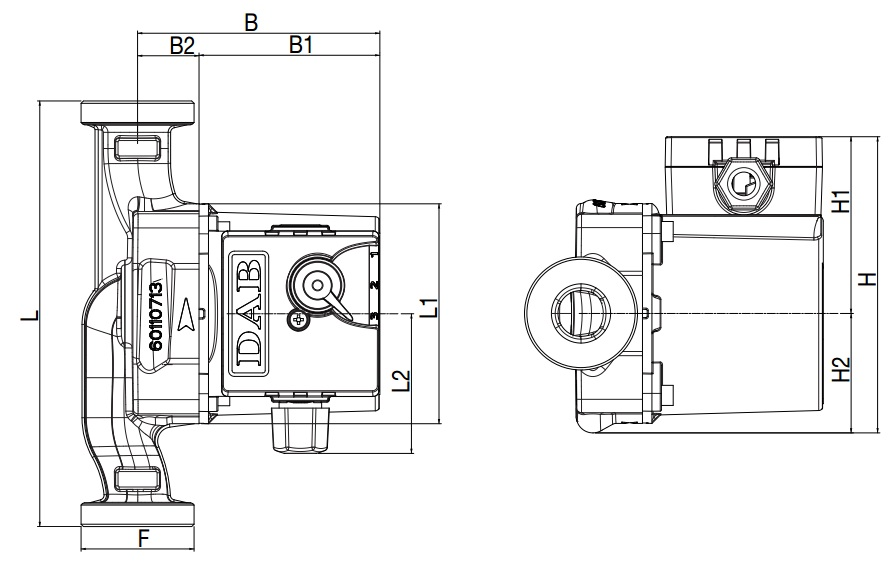 Габаритные размеры циркуляционного насоса DAB VSA55/180