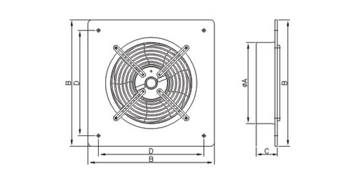 Габаритные размеры осевого вентилятора Dospel Woks 450