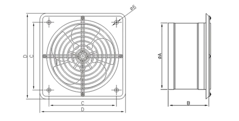 Габаритные размеры вентиляторов осевых Dospel WB-S