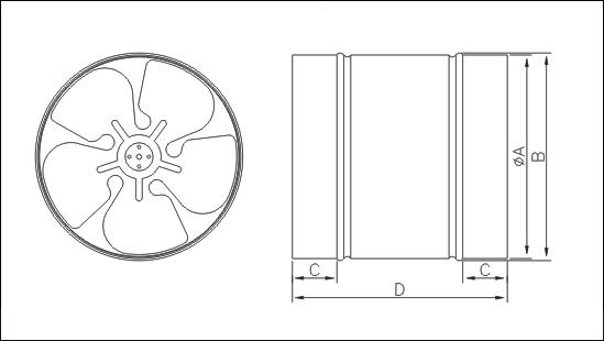 Габаритные размеры осевого вентилятора круглых каналов Dospel WB 315
