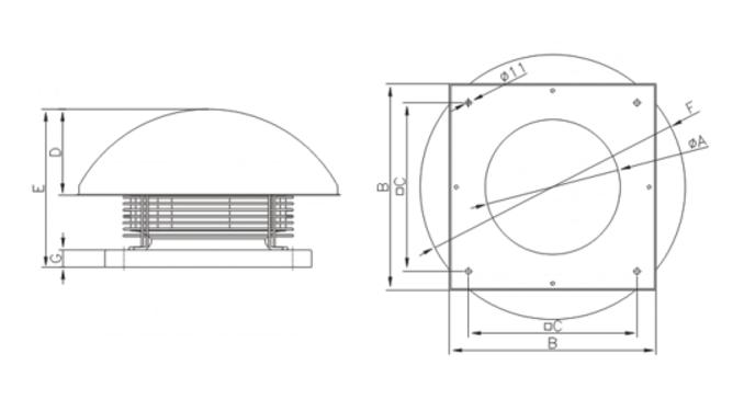 Габаритные размеры вытяжных вентиляторов на крышу Dospel WD II