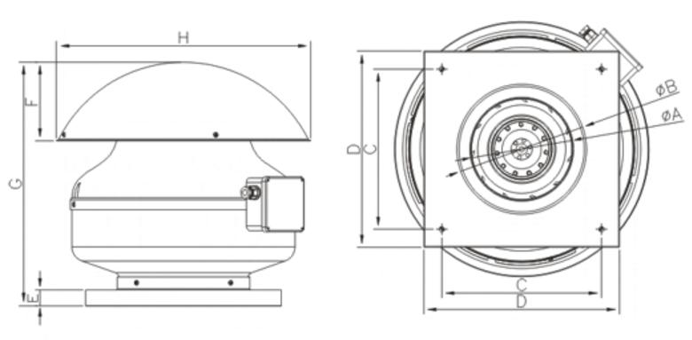 Габаритные размеры вытяжных вентиляторов для крыши Dospel WD