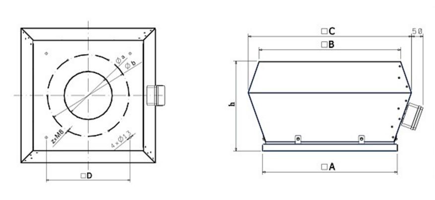 Габаритные размеры крышных вентиляторов Dospel WDD