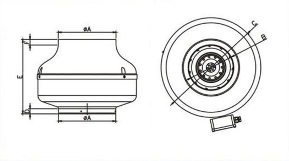 Габаритные размеры канального вентилятора Dospel WK 315