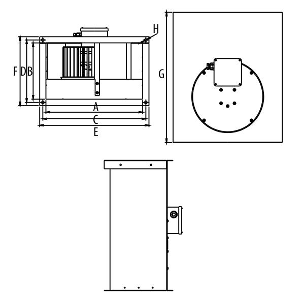 Габаритные размеры прямоугольных канальных вентиляторов Dospel WKS