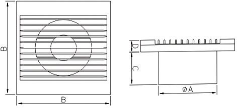Габаритные и монтажные размеры вентилятора Dospel ZEFIR 100 S