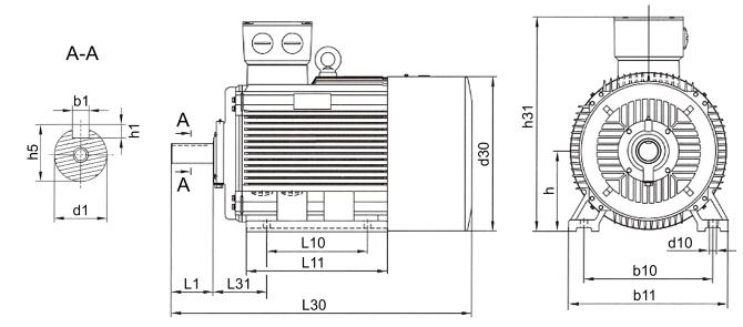 Габаритные размеры электродвигателя АИР 200 L4 (IM1081)