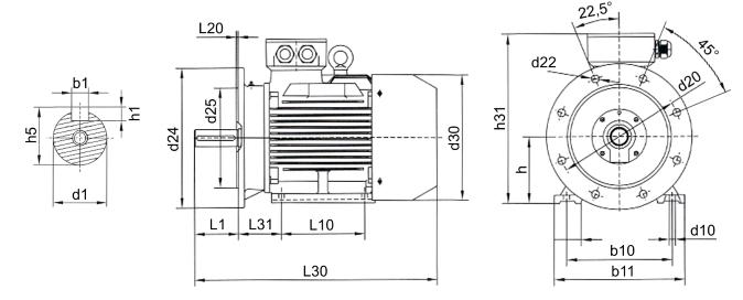Габаритные размеры электродвигателя АИР 100 L2 (IM2081, IM3081)