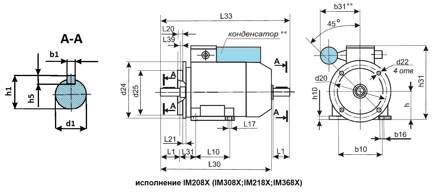 Габаритные размеры асинхронного однофазного электродвигателя АИРЕ 63В2 IM208X, IM308X