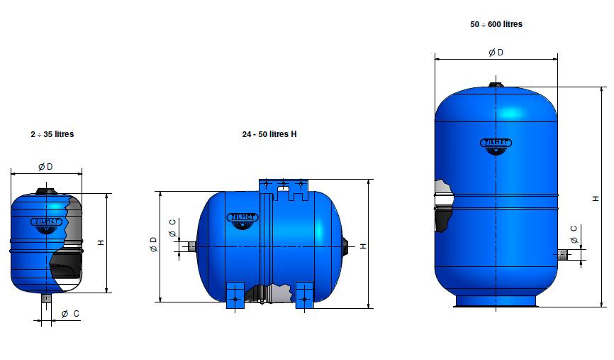 Габаритные размеры гидроаккумуляторов Zilmet Hydro-Pro