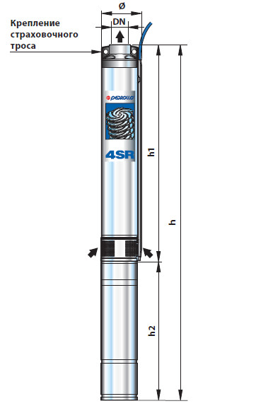 Размеры насоса для скважин Педролло 4SR10/20
