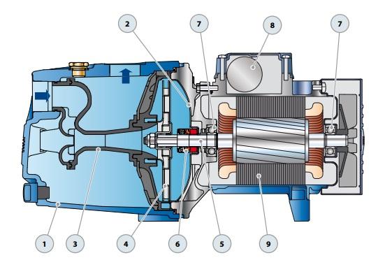 Конструкция поверхностного насоса Pedrollo JSWm 1CX-N