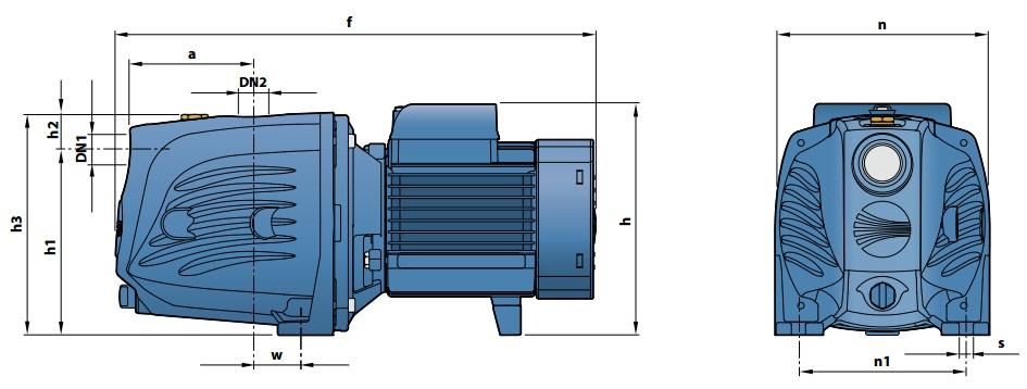 Габаритные размеры самовcасывающего насоса PedrolloJSW 1CX-N