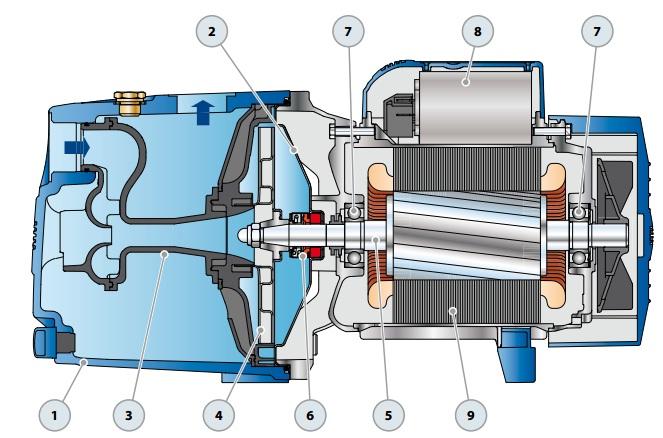 Конструкция поверхностного насоса Pedrollo JSWm 2AX