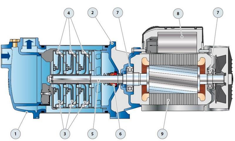 Конструкция самовсасывающего насоса Pedrollo PLURIJET 5/130