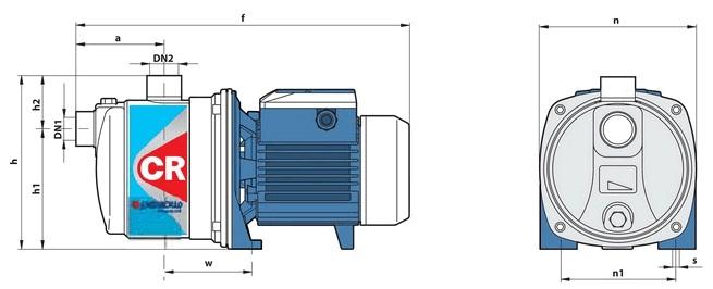 Габаритные размеры насосного оборудования Pedrollo 2 CR 80-N