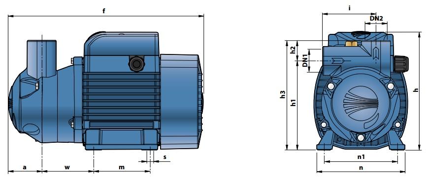 Габаритные размеры насосного оборудования Pedrollo CKm 50