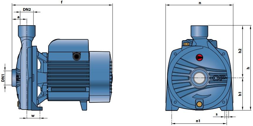 Габаритные размеры насосного оборудования Pedrollo CP 158