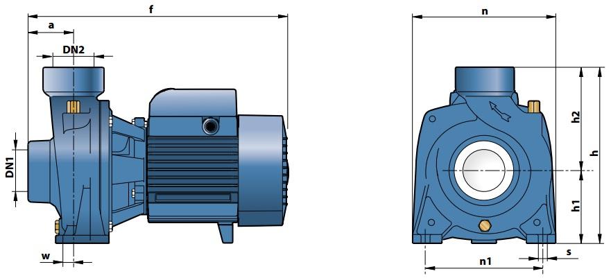 Габаритные размеры насосного оборудования Pedrollo HFm 70С