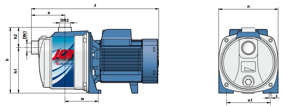Габаритные размеры насосного оборудования Pedrollo JCRm/2A