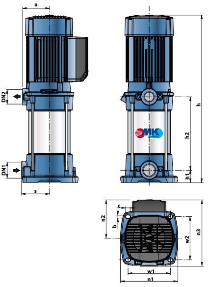 Габаритные размеры насосного оборудования Pedrollo MK 5/4