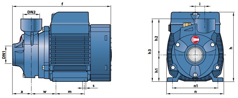 Габаритные размеры вихревого насоса Pedrollo PK 90