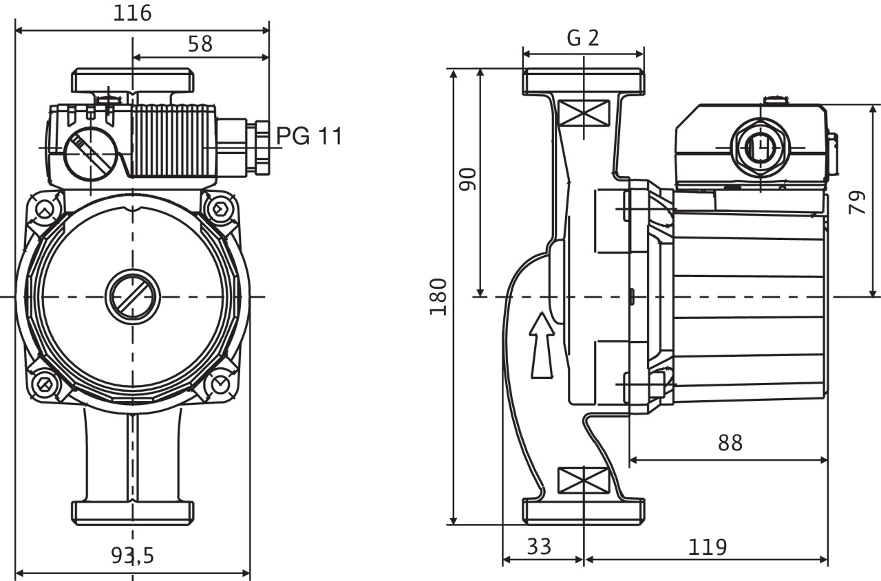 Габаритные размеры циркуляционного насоса Wilo Star-RS 30/8