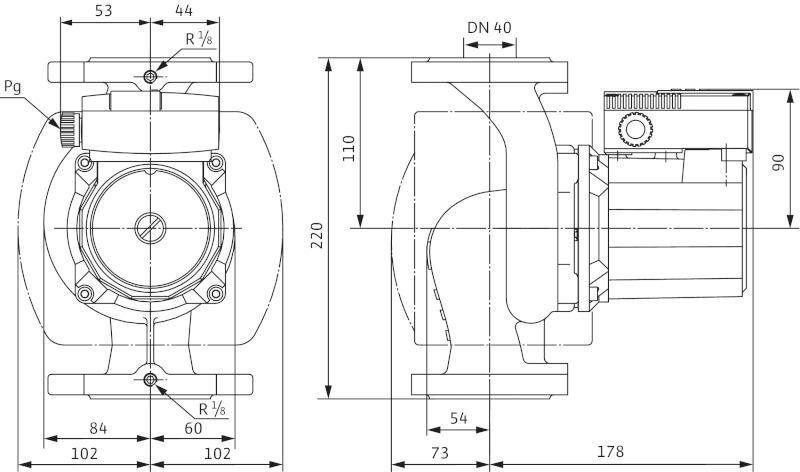 Габаритные размеры циркуляционного насоса Wilo TOP-S 40/4 DM